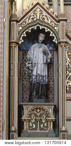 STITAR, CROATIA - AUGUST 27: St. Aloysius statue on altar of Our Lady of Lourdes in the church of Saint Matthew in Stitar, Croatia on August 27, 2015