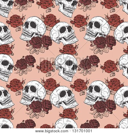 seamless pattern with roses and skulls skull