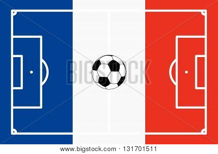 abstract soccer field with white marks and france national colors background