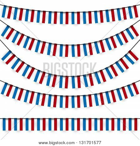 different garlands with national colors of Luxembourgish flag
