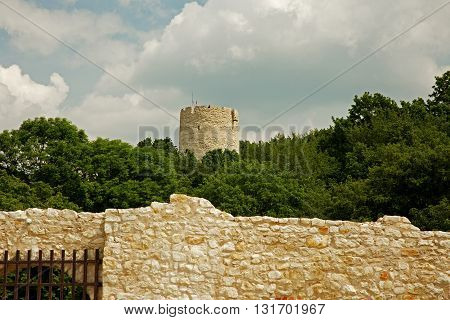 Poland,Jazimierz - May,2016.View from the ruins of the castle on the defensive tower in Kazimierz Dolny with visible in the foreground fragment walls of castlle.Editorial.Horizontal view.