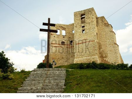 Poland,Kazimierz-May,2016view from the bottom of the ruins of the Royal Castle built of white stone in Kazimierz Dolny,2016Editorial.Horizontal view.