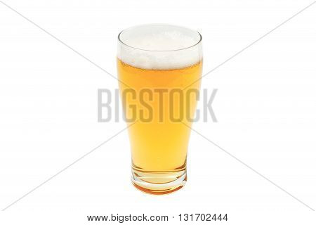 amber beer in pint glass on white background