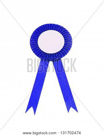 blue satin Ribbon bow Isolated on white