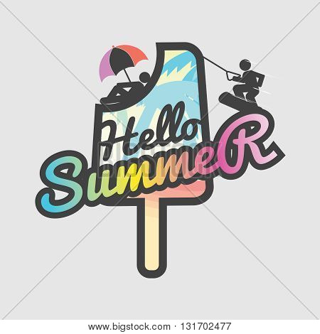 Hello Summer Popsicle Vector Illustration. EPS 10