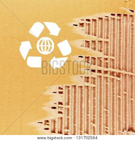 The Rough paper texture with recycle symbol