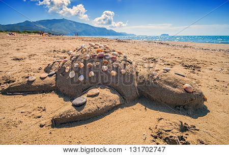 Turtle Caretta Caretta Made Of Sand On Beach Laganas Zakynthos Greece
