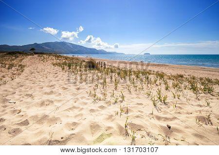 Sandy Dunes On Beach Laganas Bay Zakynthos Greece