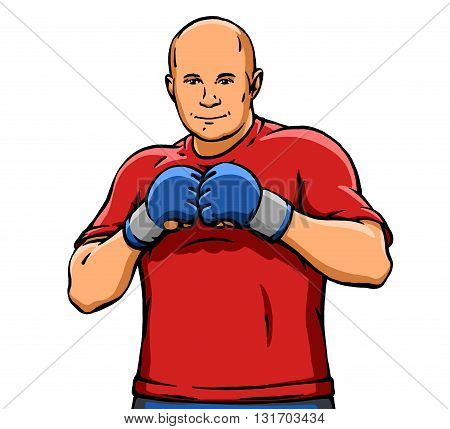 funny cartoon cute cool MMA fighter illustration