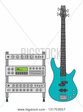 Rock electric bass guitar and amplifier for concerts and festivals in colors