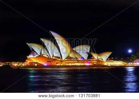 Sydney, Australia - May 27, 2016, Sydney Opera House Illuminated With Colourful Light Design Imagery