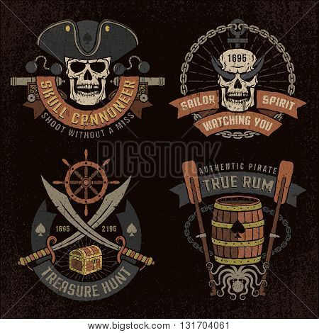 Pirate emblem with skulls and grunge texture. Logo text background and grunge texture on separate layers.