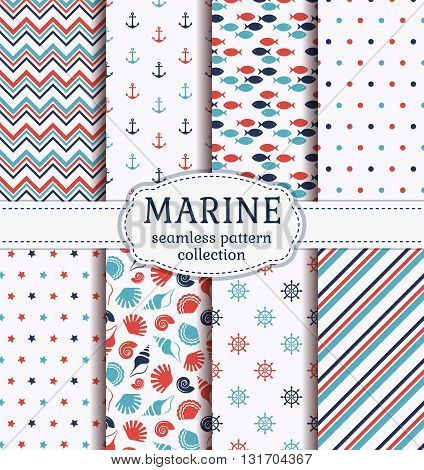Set of marine and nautical backgrounds in blue red and white colors. Sea theme. Cute seamless patterns collection. Vector illustration.