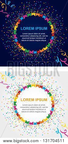 Background card with colored confetti and streamers around a circular area to place text