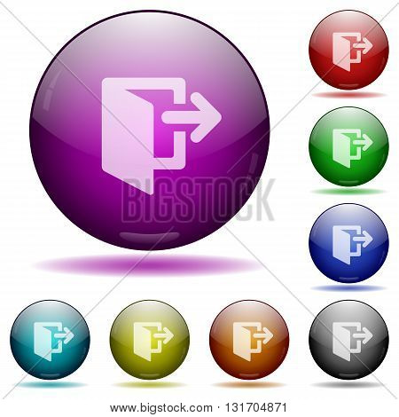 Set of color exit glass sphere buttons with shadows.