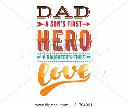 Happy fathers day vector typography. Vintage lettering for greeting cards, banners, t-shirt design.