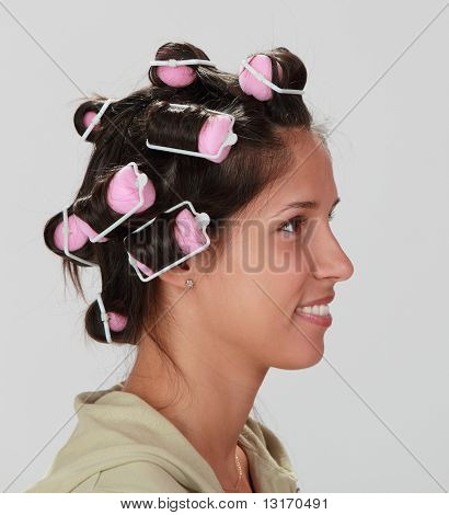 Woman With Hair Curlers