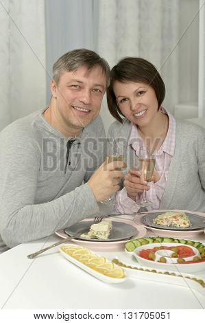 Portrait of a beautiful couple have dinner in restaurant