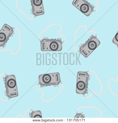 Seamless pattern camera with a strap on a blue background