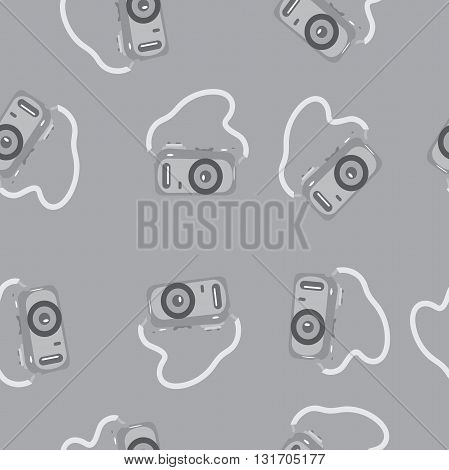 Seamless pattern camera with a strap on a gray background