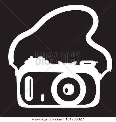 stencil camera with a strap on black background
