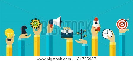 Hands with motivating icons to achieve the goal success. Modern design for corporate business planning. Teamwork planning and organization management.