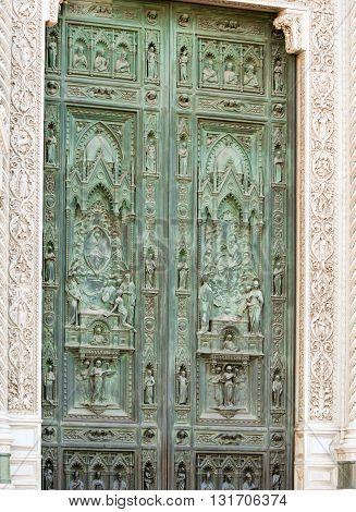 Bronze Door at Duomo Cathedral Florence Italy