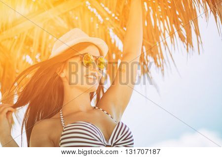 Woman In Summer Sun On The Beach During Tropical Vacation