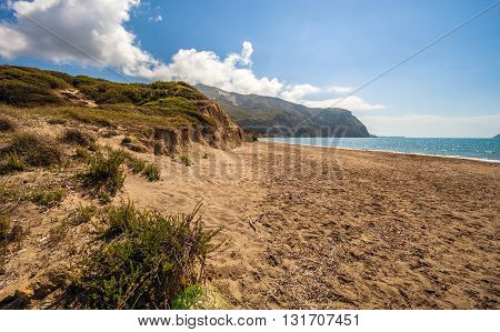 Empty Sandy Beach In Hot Summer Day Kalamaki Zakynthos Greece