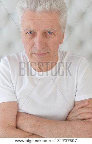 Portrait of a senior man face close up