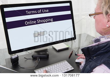 Woman working on computer with terms of use for online shopping