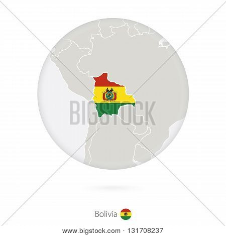Map Of Bolivia And National Flag In A Circle.