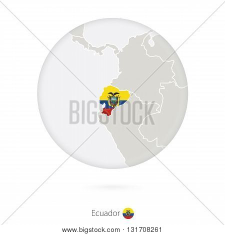 Map Of Ecuador And National Flag In A Circle.