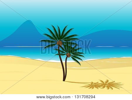 resort. The blue sea with waves, the Blue Mountains and couple of palm trees with coconuts on the beach