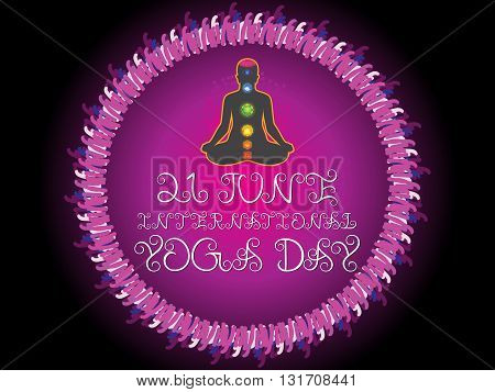 abstract purple yoga day background vector illustration