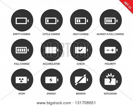 Battery charge indicators vector icons set. Charge level indicators for interface, batteries, accumulators. Icons for tablets and mobile devices. Isolated on whithe background