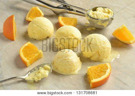 Homemade creamy an orange ice cream, selective focus