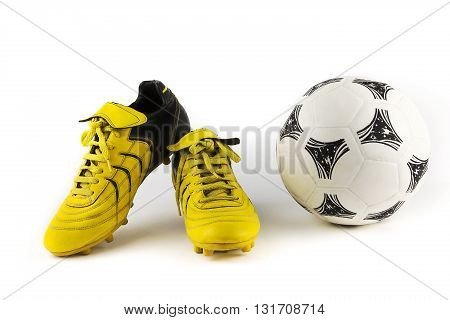 over-white portrait of a pair of football shoes