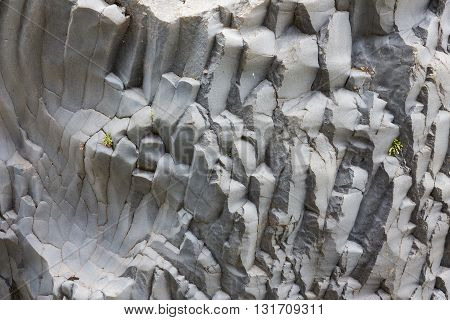 Basalt rock formations at Alcantara gorge on Sicily Italy