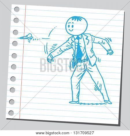 Businessman throwing dart