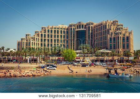 Eilat Israel - April 6 2015: Hotel Hilton Eilat Queen of Sheba shopping center and the beach.