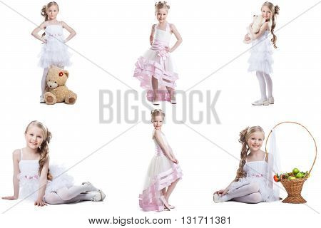 Collage of charming little model posing in fancy dresses