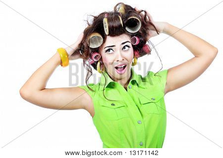 Shot of a funny  woman housewife dressed in retro style. Isolated over white background.