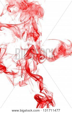 Abstract red smoke on white background from the incense sticks