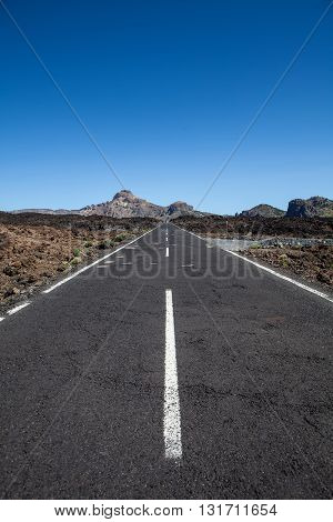 asphalt road in the Teide Volcano national park in canary island