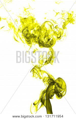 Abstract yellow smoke on white background from the incense sticks