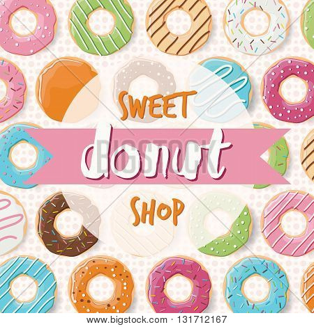 Poster design with colorful glossy tasty donuts for a donut shop vector illustration