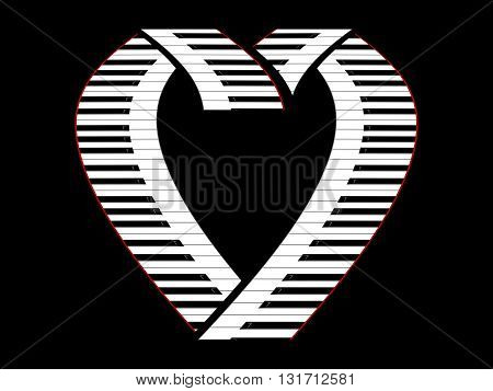 Keys of the piano as the symbol of the heart