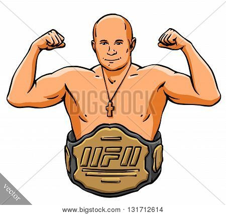 funny cartoon cool MMA fighter man illustration