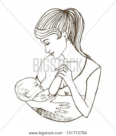 vector hand-drawn illustration of mother breastfeeding baby
